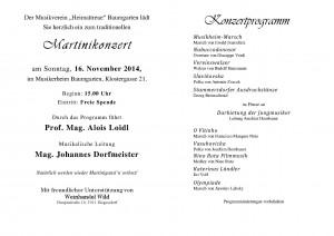 Programm Martinikonzert